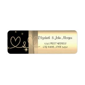Elegant  Chic Luxury ,Faux Gold,Black,Hearts Return Address Label