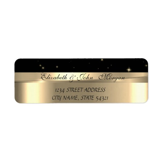 Elegant  Chic Luxury ,Faux Gold,Black Return Address Label