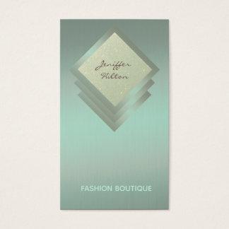 Elegant chic luxury geometrical metal look business card