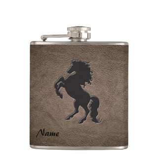 Elegant chic luxury  leather look horse hip flask