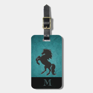 Elegant chic luxury  leather look horse monogram luggage tag