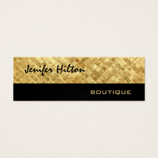 Elegant chic luxury modern golden leather texture mini business card