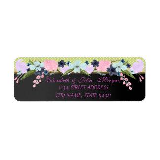 Elegant  Chic Luxury ,Polka Dots,Flowers Return Address Label