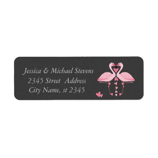 Elegant chic luxury vintage romantic flamingos return address label