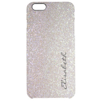 Elegant chic moden luxury faux glittery clear iPhone 6 plus case
