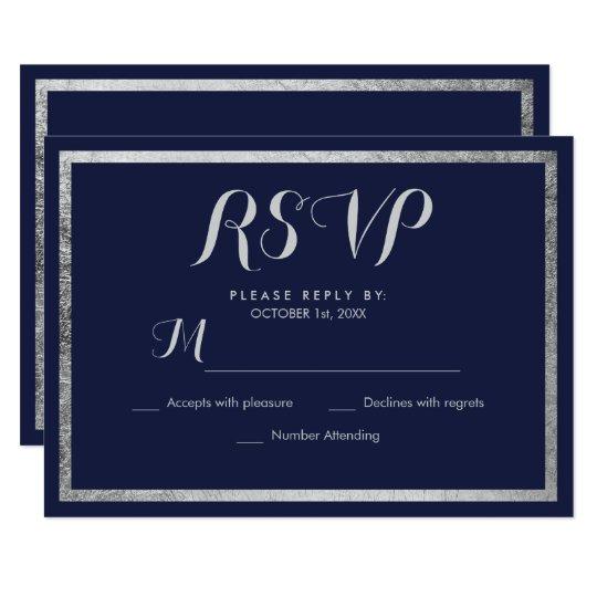 Elegant chic modern navy blue faux silver RSVP Card