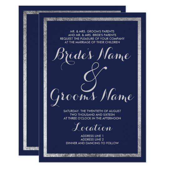 Elegant chic modern navy blue faux silver Wedding Card