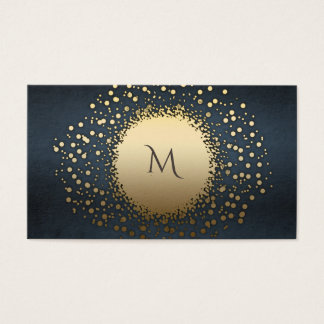 Elegant chic monogram gold confetti vintage business card