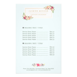 Elegant Chic Pastel Watercolor Floral Price 14 Cm X 21.5 Cm Flyer