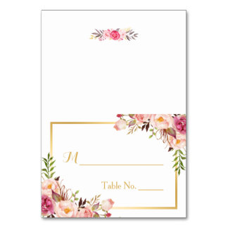 Elegant Chic Pink Floral Escort Wedding Place Card