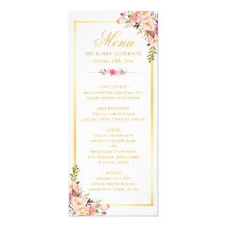 Elegant Chic Pink Floral Gold Frame Wedding Menu Card