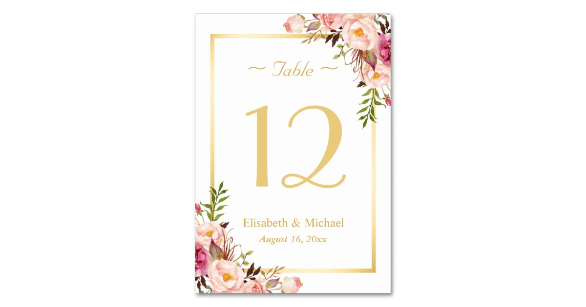 Elegant chic pink floral gold wedding table number for Table numbers for wedding reception templates