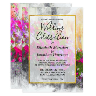 Elegant Chic Pink Florals Watercolor Wedding Card