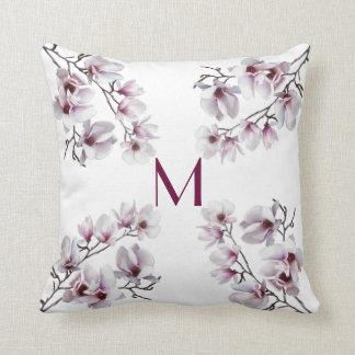 Elegant chic pink magnolia spring floral monogram cushion