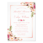 Elegant Chic Rose Gold Floral Bridal Shower Card