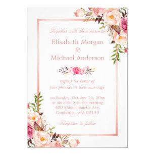 Elegant Chic Rose Gold Floral Wedding Invitation