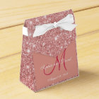 Elegant Chic Rose Gold Monogram Wedding Favour Favour Box