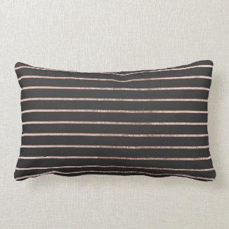 Elegant Chic Rose Gold Stripes and Black Lumbar Pillow