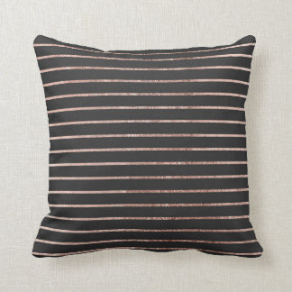 Elegant Chic Rose Gold Stripes and Black Throw Pillow