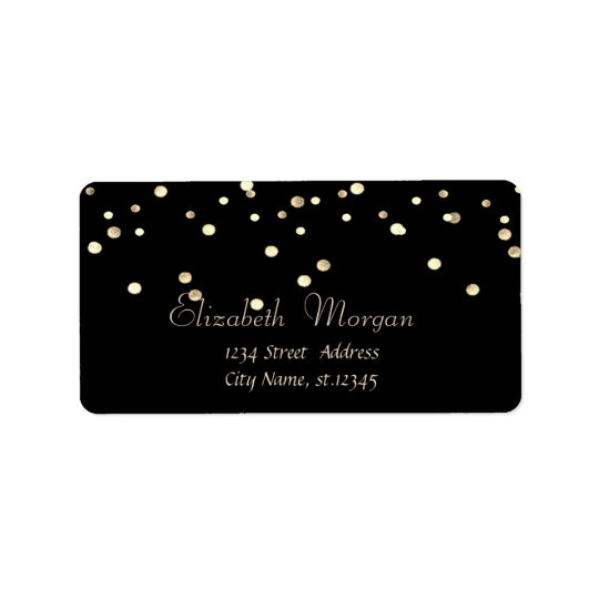 Elegant Chic  Simple Black,Fux Gold Foil Confetti Label