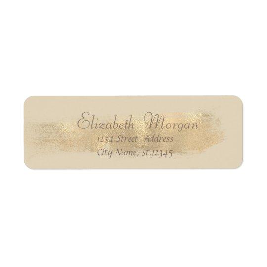 Elegant Chic  Simple,Faux Gold Brush Stroke Return Address Label