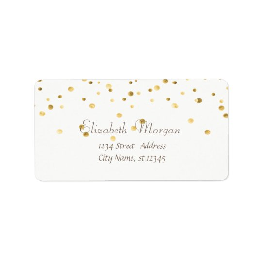 Elegant Chic  Simple White,Fux Gold Foil Confetti Label