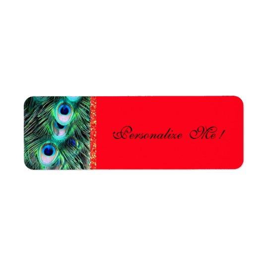 Elegant Chic Trendy Red/Green Peacock & Glitter Return Address Label