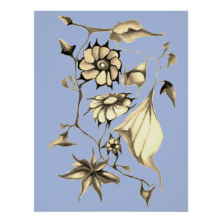 Elegant Chic Whimsical Blue Exotic Floral Poster