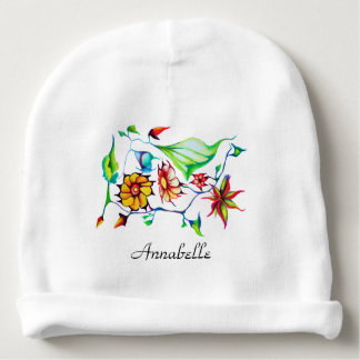 Elegant Chic Whimsical Enchanting Exotic Floral Baby Beanie