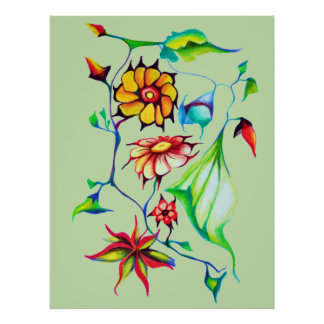 Elegant Chic Whimsical Enchanting Exotic Floral Poster