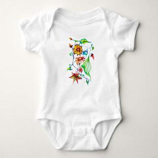 Elegant Chic Whimsical Exotic Flowers Baby Bodysuit