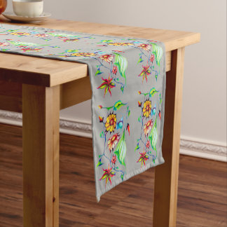 Elegant Chic Whimsical Exotic Flowers Short Table Runner