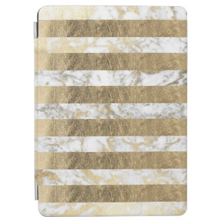 Elegant chic white faux gold marble stripes iPad air cover
