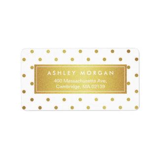 Elegant Chic White Gold Glitter Polka Dots Address Label