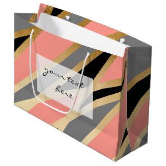 elegant chick abstract gold black grey coral pink large gift bag