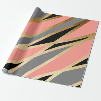 elegant chick abstract gold black grey coral pink wrapping paper