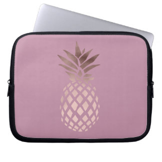 elegant chick clear rose gold tropical pineapple laptop sleeve