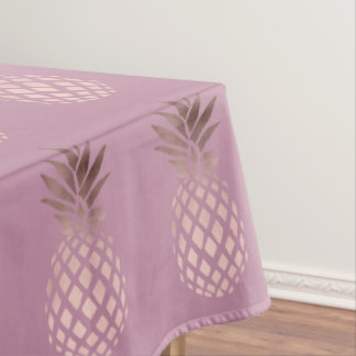 elegant chick clear rose gold tropical pineapple tablecloth