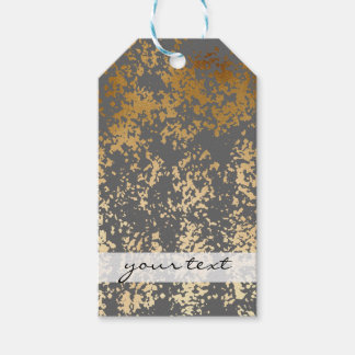 elegant chick faux gold and grey brushstrokes gift tags