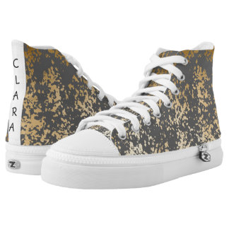elegant chick faux gold and grey brushstrokes high tops