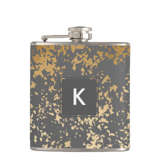 elegant chick faux gold and grey brushstrokes hip flask