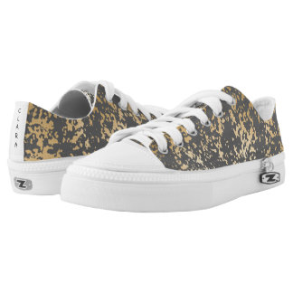 elegant chick faux gold and grey brushstrokes low tops