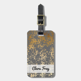elegant chick faux gold and grey brushstrokes luggage tag