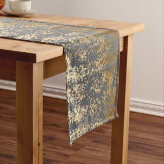 elegant chick faux gold and grey brushstrokes short table runner