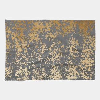 elegant chick faux gold and grey brushstrokes tea towel