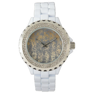 elegant chick faux gold and grey brushstrokes watch