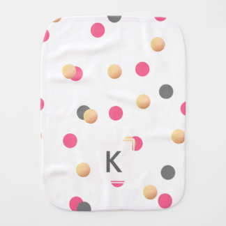 elegant chick faux gold grey pink confetti dots burp cloth