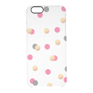 elegant chick faux gold grey pink confetti dots clear iPhone 6/6S case