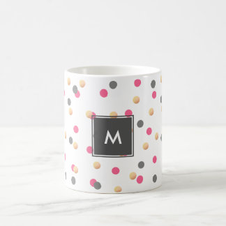 elegant chick faux gold grey pink confetti dots coffee mug