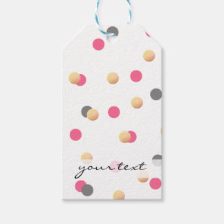 elegant chick faux gold grey pink confetti dots gift tags